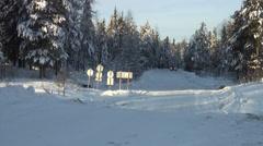 Trucks passing through the ice crossing through North Sos'va Stock Footage