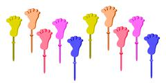Set of Plastic Foot Clap Toys on White Background - stock illustration