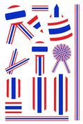 Set of Banner and Ribbon of Thai Flag Stock Illustration