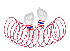 Human Hand Clenched Fist After Wire Barrier Stock Illustration