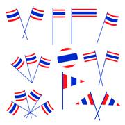 Set of Thai Flag on White Background Stock Illustration