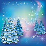 Winter background with fir-trees - stock illustration