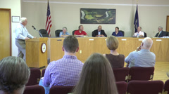 Small town hall meeting wide shot Stock Footage