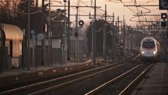 0262 Fast Italian Train Freccia Argento Stock Footage