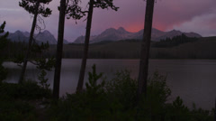 Wide shot scenic view of lake and mountains at sunset / Redfish Lake, Idaho, Stock Footage