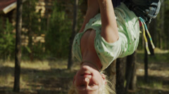 Close up of girl hanging from hammock / Idaho, United States Stock Footage