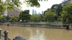 View of Singapore River showing both sides of river banks.(SG RIVER--101) Stock Footage