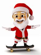 Santa playing a skate board - stock illustration