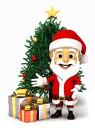 Santa claus with box of gifts and Christmas tree Stock Illustration