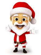 3d render happy Santa open hand Stock Illustration