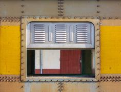 Decorative old metal window with old train Stock Photos