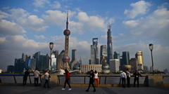 Time lapse,Shanghai Lujiazui financial center,Tourists play in huangpu river. Stock Footage