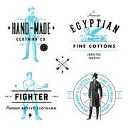 vector vintage clothing label and badge set - stock illustration