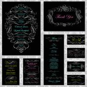 Vector retro victorian wedding invite and stationary set with neon Stock Illustration