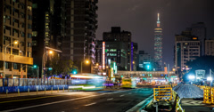 4K time lapse of Taipei 101 and a busy freeway in Taiwan Stock Footage