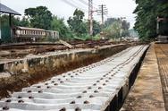 Repairing of railway sleepers change to   concrete sleepers. Stock Photos