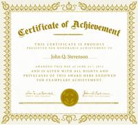 vector clipart gold victorian certificate of achievement - stock illustration