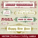Stock Illustration of vector clipart vintage christmas and holiday labels