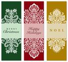 Stock Illustration of vector holiday damask ornaments on christmas cards