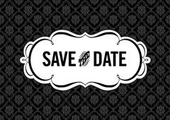 Vector clipart save the date frame and pattern Stock Illustration