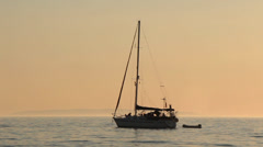 Croatia, Sailing yacht moored on calm sea horizon 2 Stock Footage