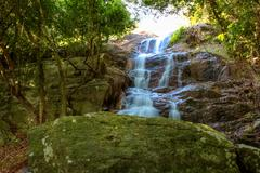 Waterfall in forest - stock photo
