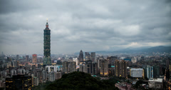 4K sunset time lapse of the Taipei cityscape in Taiwan Stock Footage