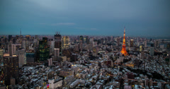 4K time lapse of a Tokyo skyline sunset Stock Footage