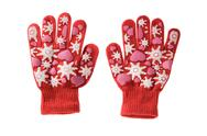 Red knitted cloth kid gloves with pattern  isolated on white background. Stock Photos