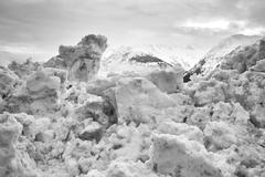 Old melting snow Stock Photos