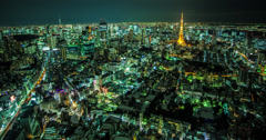 4K aerial time lapse of Tokyo at night Stock Footage