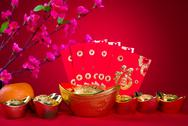 Stock Photo of chinese new year decorations,generci chinese character symbolizes gong xi fa