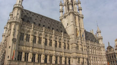 BRUSSELS, BELGIUM - Town Hall on the Grand Place - tilt up Stock Footage