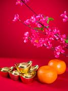 chinese new year decorations,generci chinese character symbolizes gong xi fa  - stock photo