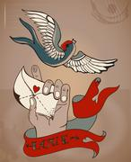 Old-school style tattoo valentine card with man's hand and love letter Stock Illustration