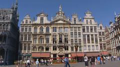 Guild Houses pan market place + tilt up House of Dukes GRAND PLACE BRUSSELS Stock Footage