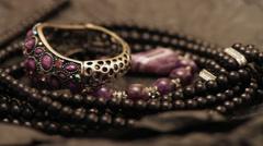 Jewelry on a dark background Stock Footage
