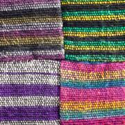 four squares of textured striped fabric - stock photo
