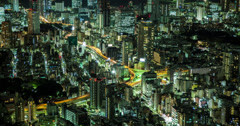 4K time lapse of the busy Tokyo roads at night Stock Footage