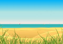 Summer beach with sailboat postcard background Stock Illustration