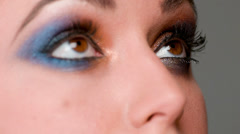 Close Up on Eyes Whe Make Up Artist Doing Her Job Stock Footage