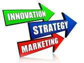 Stock Illustration of innovation, strategy and marketing in arrows