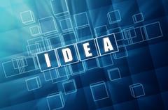 blue idea in glass blocks - stock illustration