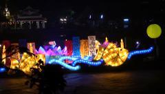 Royal Illuminated Barge, Chao Phraya, Bangkok, Thailand. HD 1080p. Stock Footage