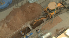 Bird's View Construction Bulldozer digging ditch Stock Footage