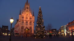 15th century town hall, market place, christmas tree Stock Footage