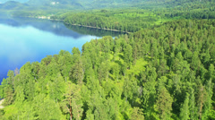 Flying over the lake. Altai. Siberia Stock Footage