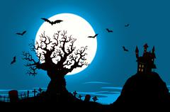 halloween poster - haunted house and evil tree - stock illustration