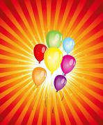 summer balloons party ! - stock illustration