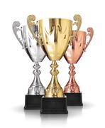 Stock Illustration of three different kind of trophies isolated on white background